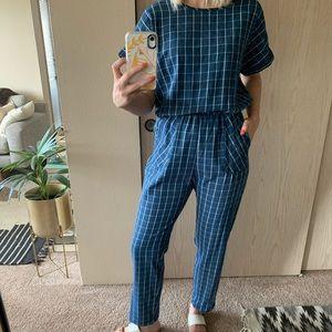 Blue grid print cotton jumpsuit